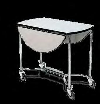 TABLES Chrome plate steel frame 4 black swivel wheels in: 36 43.