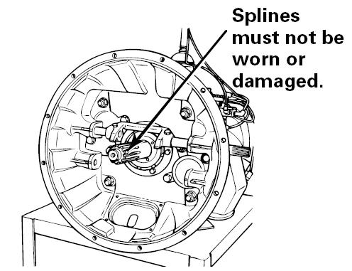 Inspect the area of travel for the release bearing for damage.