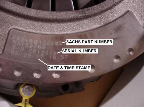 Identification P/N & S/N are located on the machined surface of clutch housing Sachs Example:
