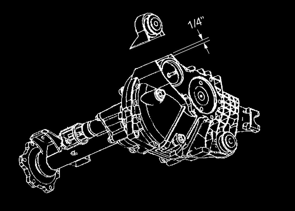6) Remove the differential assembly from the vehicle. 7) Cut off the differential lower frame mount from the rear frame bracket of the driver side lower control arm. See illustration #8.
