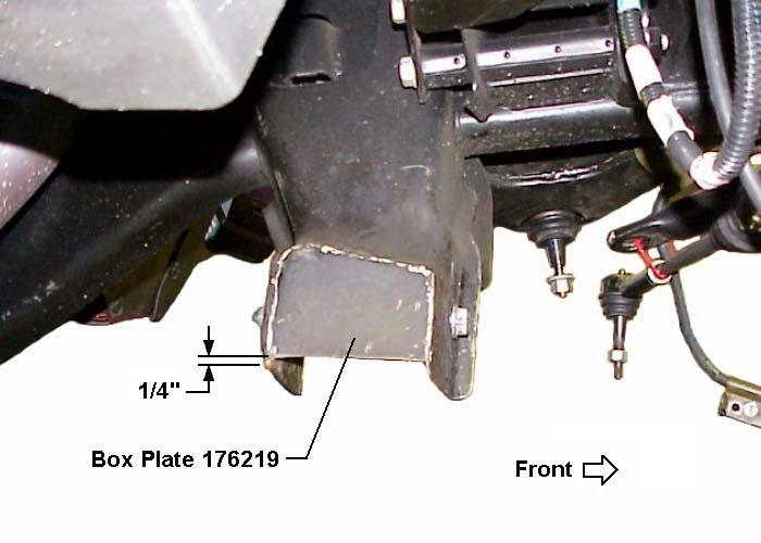 See illustration #11. Illustration #8 8) Weld box plate 176219 to inside of lower control arm frame bracket as shown in illustration #9.