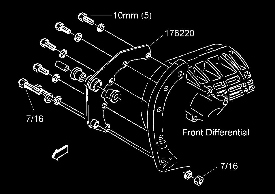 4) (4wd only) Attach bracket assembly 176220 to the front differential with the hardware from kit 860179. See illustration #11. Tighten the bolts to 35 ft lbs.