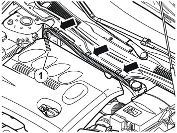 17A Illustration A Press the passenger compartment connector cable into the clips.
