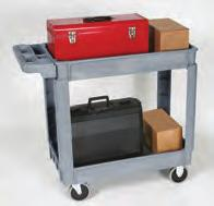 "270434 cart with 270454 3rd tray Deluxe Plastic Service Cart 550 lb. capacity, evenly distributed load. Available in two sizes: 16"" x 30"" and 24"" x 36"". Optional 3rd shelf."
