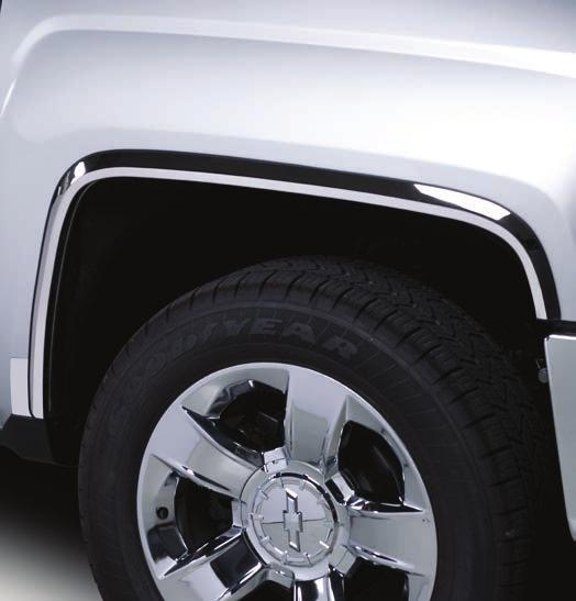 FENDER TRIM APPLICATION YEAR CADILLAC STAINLESS STEEL BLACK PLATINUM SIERRA HD - FULL (DOES NOT FIT DUALLY) GMC 2015+ 97298 ESCALADE - FULL - 6 PIECE KIT 2007-2014 97319 SIERRA HD - FULL 2011-2014
