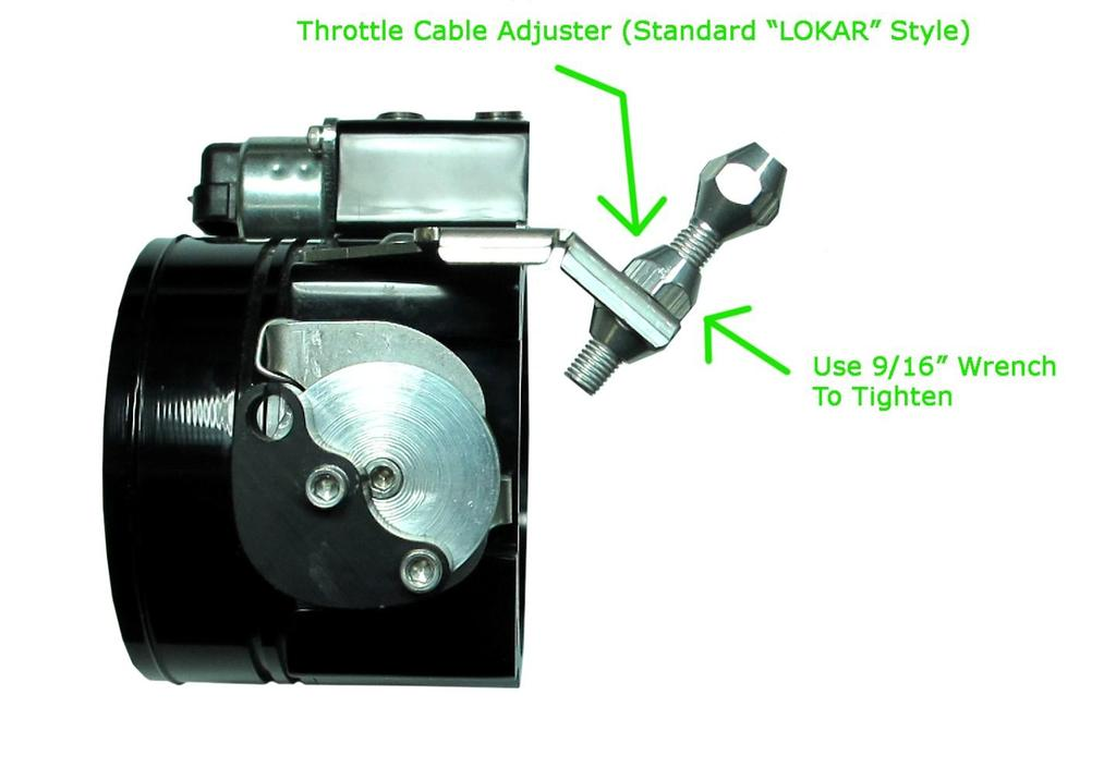 3.10 Attach the Throttle Cable Adjuster ( LOKAR example shown) to the