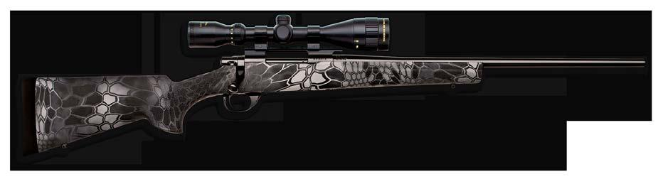 FULL DIP PACKAGE FEATURES ( See specs on page 68 ) Available in short-action calibers 20 heavy barrel Full-dipped Kryptek camo on barrel, stock, scope, base & rings Hogue
