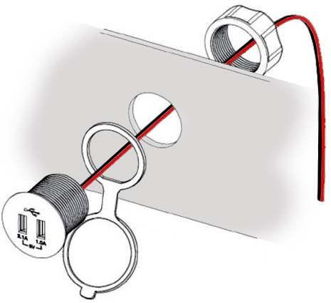 Use (2) butt connectors (not included) to connect the USB wires to the 12V outlet wires.