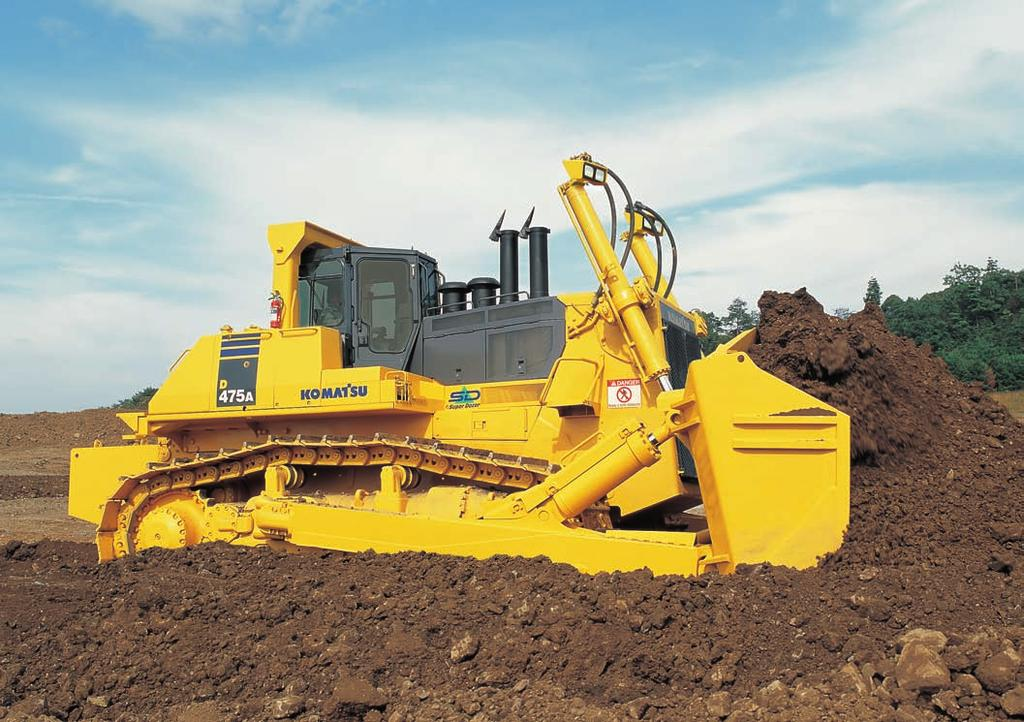 S UPER D OZER D475A-5SD When It Comes To Crawler Dozers, Bigger Really Is Better Bigger dozers are more efficient they push more material per miner, per hour, and per shift, for a lower overall cost