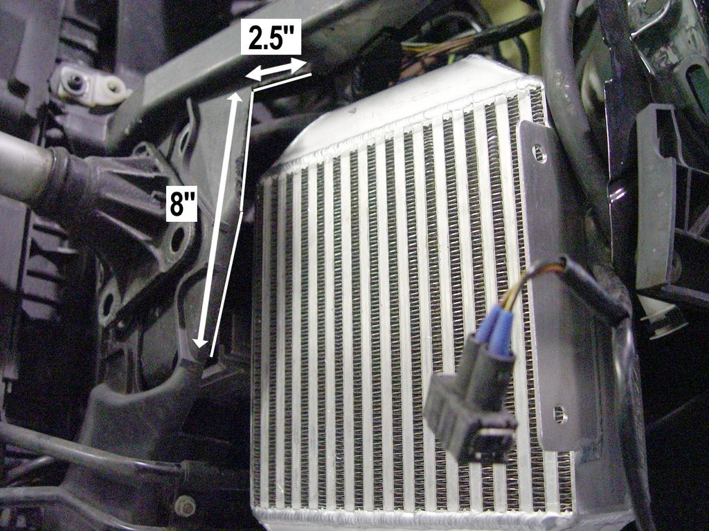 Step 9 For Audi S4 only: Figure 9 With a felt tip marker (or whiteout), mark a line on the radiator support as in Figure 9.
