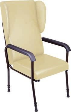 Chelsfield Height Adjustable Chair Comfortable seating with lateral movement to suit the individual user Specially designed legs to reduce tilt when transferring High back for head support Easy clean
