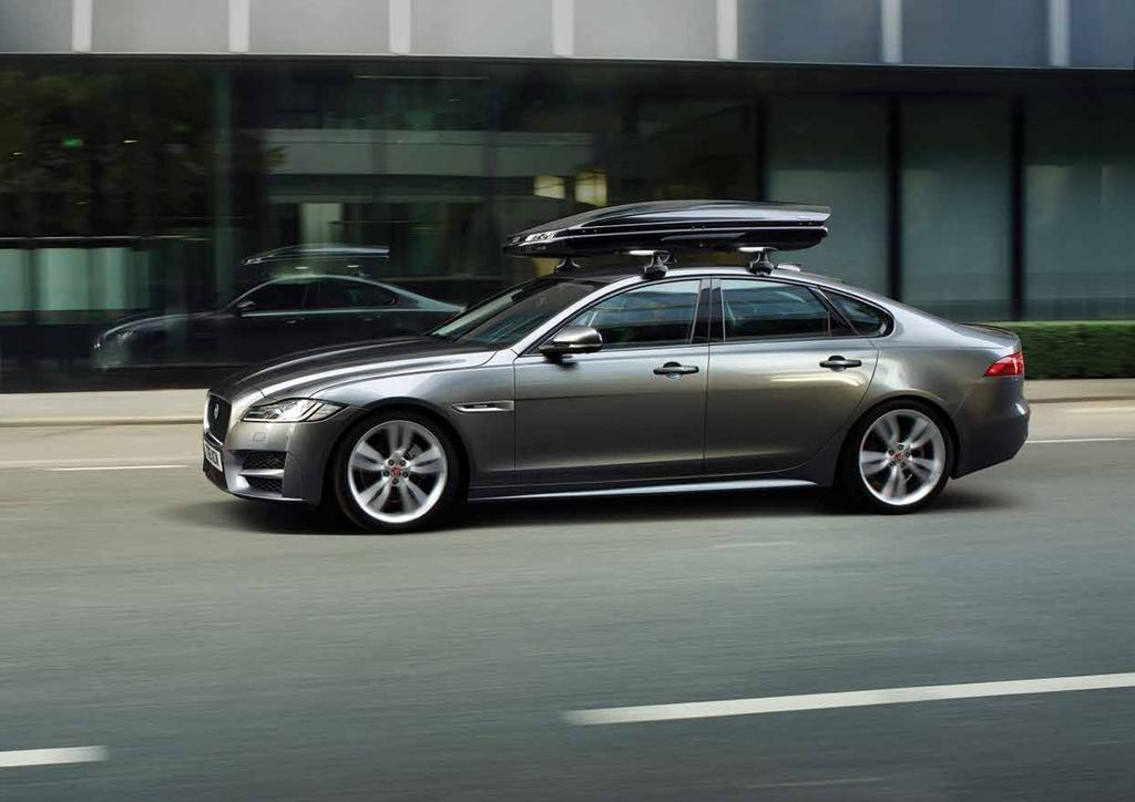 CARRYING AND TOWING 1 2 3 4 1. ROOF CROSS BARS Jaguar branded cross bars required for fitting all roof carrying equipment. Engineered specifically for your XF. 2. ROOF SPORT BOX Spacious 320 litre capacity lockable roof box designed for sports equipment, measuring 206 x 84 x 34cm.