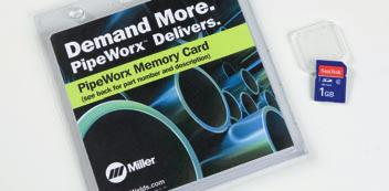 welding applications. These programs are available on commercial memory cards and operate through the PipeWorx Card Reader on the operator interface.
