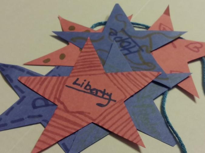 1. Using the star template as a pattern, cut out as many other stars as you can from the
