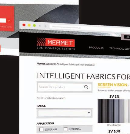 of fabrics for external and internal application, from transparency to total darkness, for thermal and
