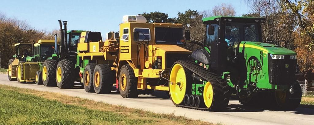 Figure 2. John Deere 8345RT during tests with the NTTL Test Car and three additional load units on the test track at the Nebraska Tractor Test Lab on 4 November 2014.