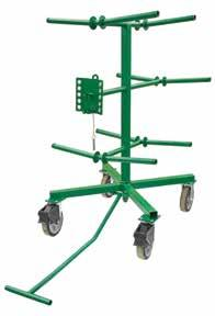 The spool rack consists of ten (10) spindles and an adjustable guide loop, and can be turned 360 independent of the base.