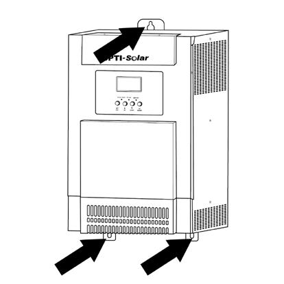 bottom cover by removing two screws as shown below. Mounting the Unit Consider the following points before selecting where to install: Do not mount the inverter on flammable construction materials.