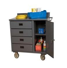 36 W Mobile Cabinet with 4 Drawers & Lockable Storage Compartment (1200 lbs.