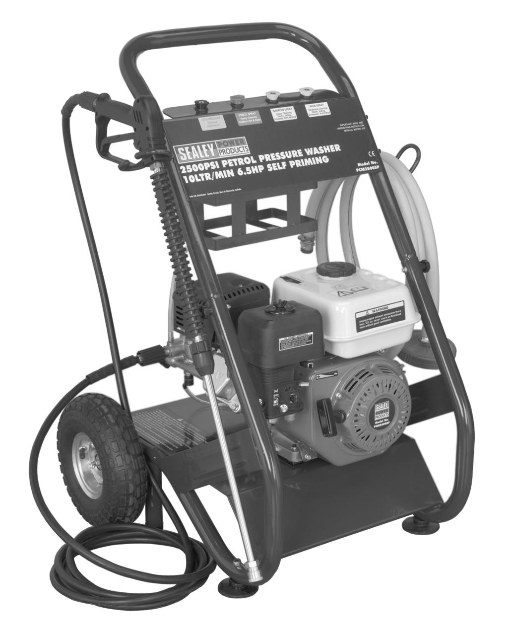 Petrol powered pressure washer with recoil starting. Ideal for commercial applications: with 5mtr pressure hose, 1mtr gun and lance and adjustable nozzle.