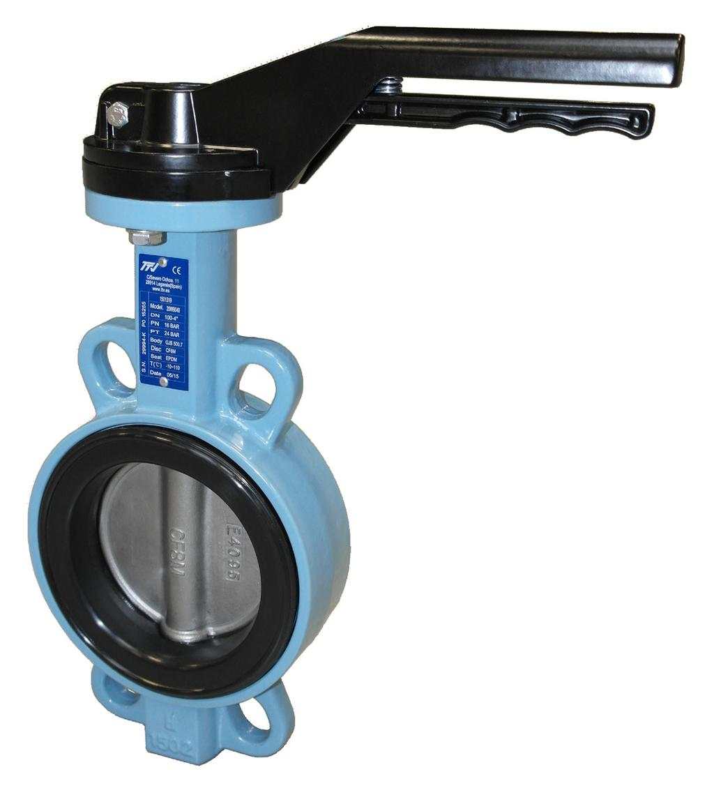 GENERAL FEATURES: Wafer type butterfly valve, DN32 - DN400