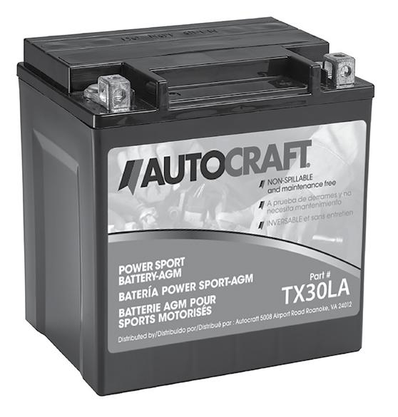 AUTOCRAFT / CARQUEST SPECIALTY BATTERY LINE AutoCraft Powersport Factory Activated AGM 12-Volt AGM Premium Batteries are ideal for ATVs, motorcycles, personal watercraft (PWC) and snowmobiles.