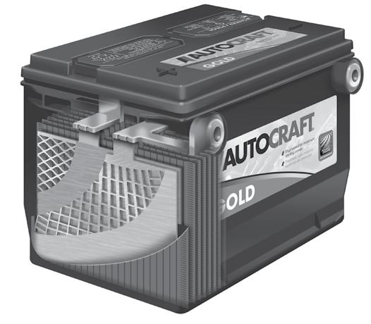 AUTOCRAFT / CARQUEST FLOODED BATTERY FEATURES BIC or Best-In-Class Venting System Engineered to vent gases in a controlled manner and ensures gases vent away from terminals reducing leakage