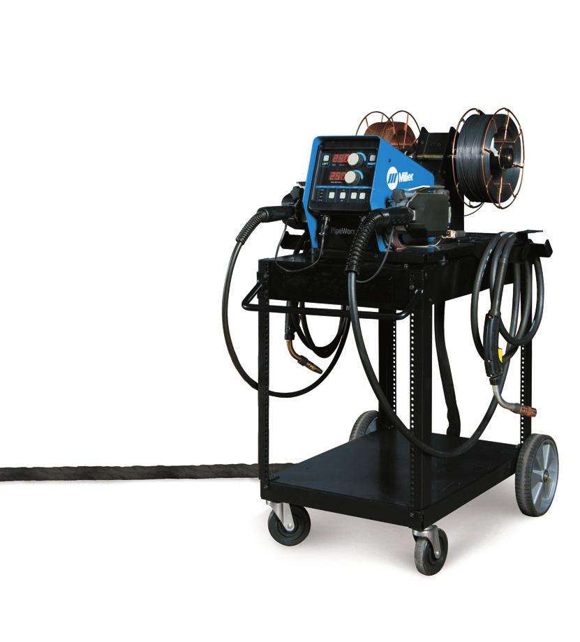 PipeWorx Welding System (Continued) Right-sized power source provides 50 amps at 100% duty cycle for Stick and TIG for maximum stick electrode diameters and high-amperage TIG applications.