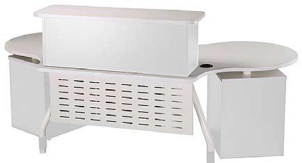 Brushed metal Legs White reception Counter 800W x 450D 1000W x 450D x