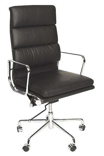 Charles eames Style High Back Ribbed executive chair in black leather/ chrome base