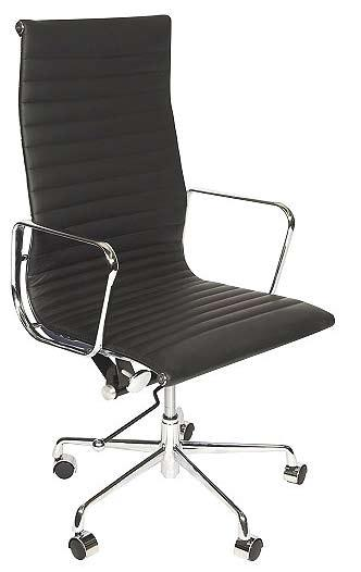 Charles eames Style Medium Back Ribbed executive chair in black leather/chrome base