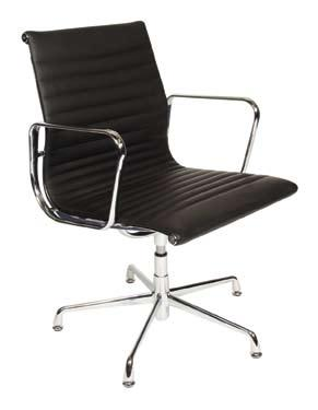 black leather/ chrome base and arms Seat height 450mm Seat depth 510mm Seat width