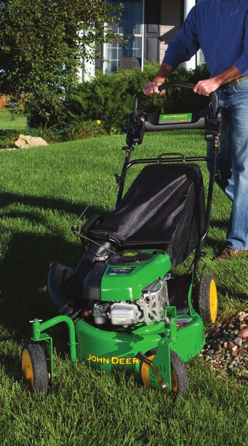 Mow across the slope of gentle hillsides with a walkbehind mower, not up and down.