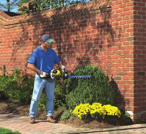 Hedge Trimmers Never hedge on safety. When operating your hedge trimmer, keep both feet firmly on the ground and spread slightly apart. Firm footing is very important for safe operation.