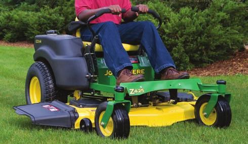Mow up and down the slope with lawn tractors on hillsides, not across. For zero-turn mowers, mow across the slope, not up and down.