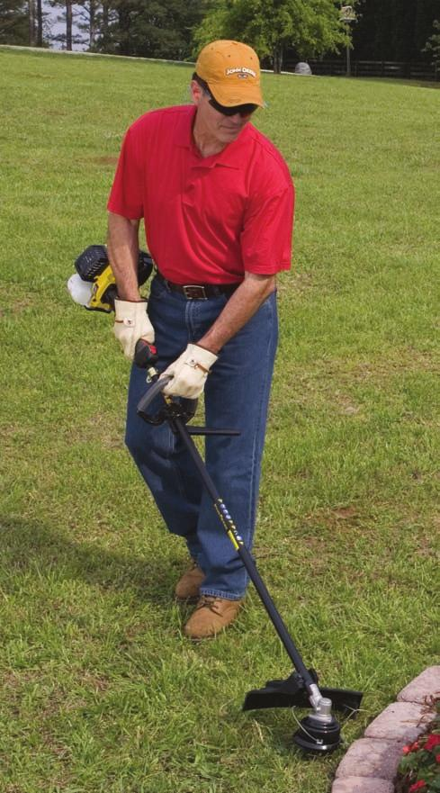 When operating lawn and garden equipment, always use full eye-protection to protect yourself against flying