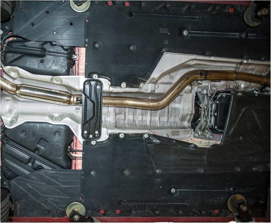 Step 5 Installation of the AWE Tuning Performance Mid Pipe is essentially the reverse of removal. Use the supplied 63.