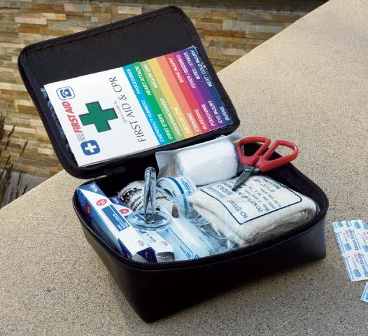 Soft-sided kit includes insect sting pads, bandages, scissors, two emergency blankets and more VELCRO brand mounting strips help