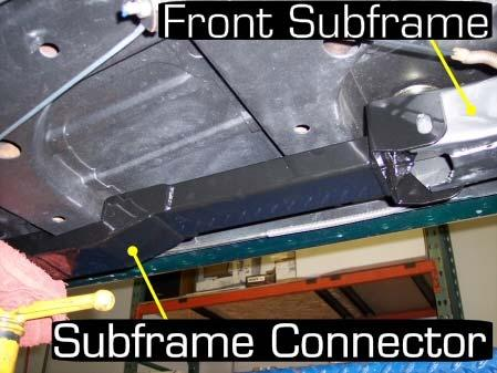 Install the subframe connector using the provided 5/8 bolt and the