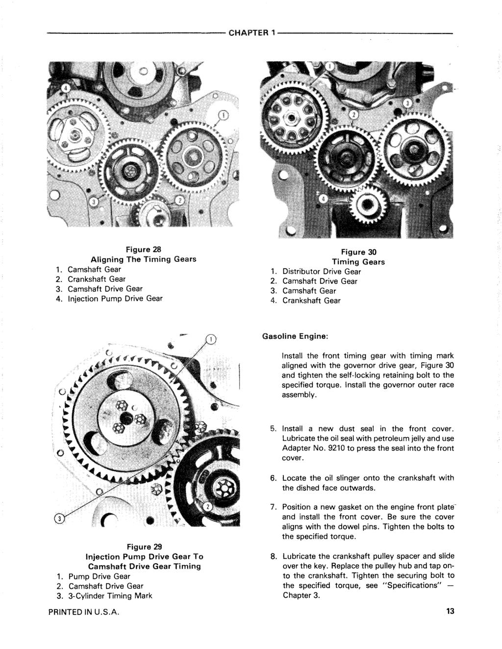 --------------------------------CHAPTER1------------------------------- Figure 28 Aligning The Timing Gears 1. Camshaft Gear 2. Crankshaft Gear 3. Camshaft Drive Gear 4.