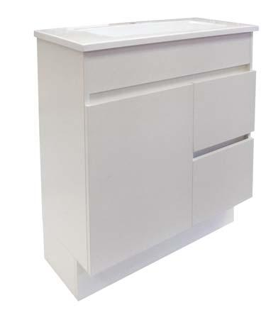 SOLUS 5 6 7 8 SOLUS VANITY UNITS 1 or 3 tapholes Mushroom universal pop-up waste (supplied) SMOOV soft-close drawer Convenient streamlined design with ample storage space Cabinets available in Polar