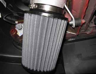 t. Install the Dryflow high-performance air filter to the intake tube with a hose clamp as shown and fully tighten. u.