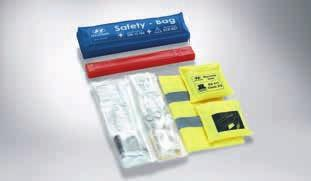 This convenient collection of safety items includes a first aid kit, two safety vests and warning triangle. Complies with DIN 13164 standard. 99940ADE00 Warning triangle.