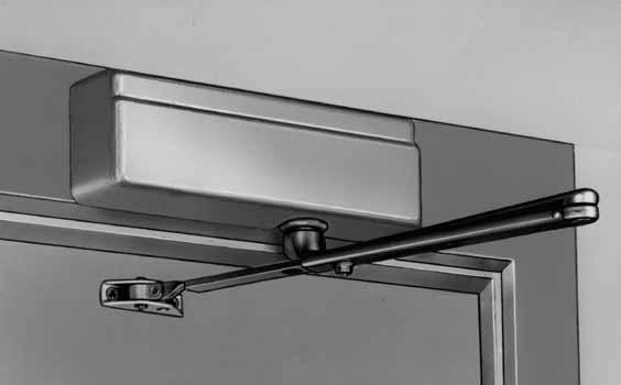 "Top Jamb Application 351-0 Top Jamb Mounting Position 13"" (330mm) 3-7/8"" (98mm) OZ ARM SHOWN 1-1/4"" (32mm) Top Jamb applications - The 351 closer is mounted on the frame face above the door."