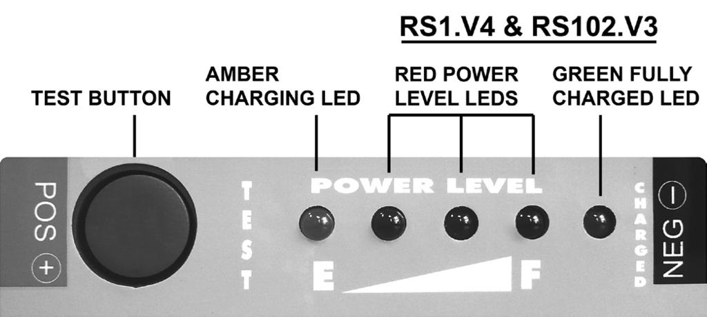 4 & 6) The charge level of each unit can be seen at any time by pressing the test button and noting the number of red power level lights that are illuminated.