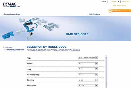 The DMR configurator also supports you with default basic equipment that is based on many years of Demag expertise in the rope hoist sector.
