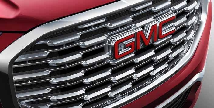 Distinctive features, such as GMC C-shaped LED signature lighting,