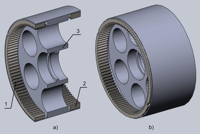Figure 8 A CAD design of the input and output epicyclic s: a) cross-section view: 1-input epicyclic internal ; 2-output epicyclic internal ; -wheel; b) general view.