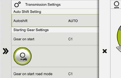 The start-up gear engaged when starting the engine is freely selectable between A1 and D1. The specified start-up gear is engaged every time you start the engine.