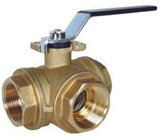 3-Way Brass Ball Valves L or T Port Design, 400 PSI WOG 1/4 to 3 NPT SERIES Features Standard Port 3-way L or T flow path Four seat design allows for full pressure at any port Hand lever operator